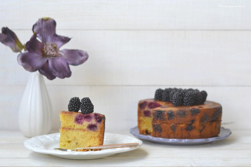 Layer cake vanillé, aux mûres & au chocolat blanc.
