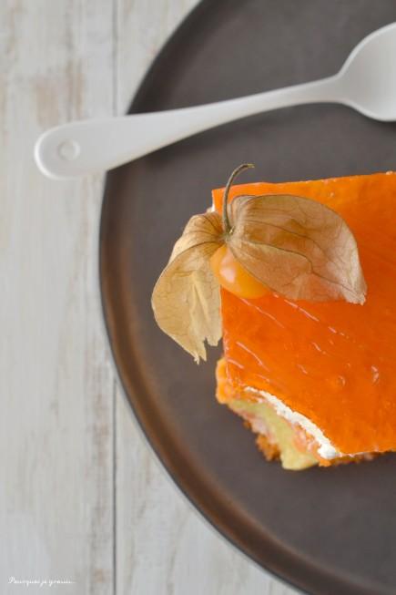 Entremets exotique ... Biscuit macaron, crème passion(née) & mousse à la noix de coco