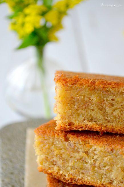 Gâteau fondi-moelleux aux bananes, à la vanille & aux zestes de citron.