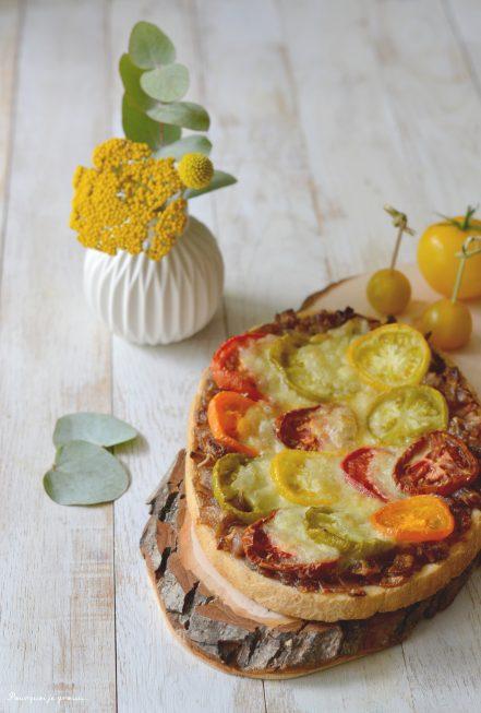 Bruschetta aux tomates, oignons caramélisés et mozzarella